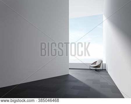 Minimal Style Terrace Space 3d Render,there Are Black Granite Tile Floor,empty White Paint Wall Deco