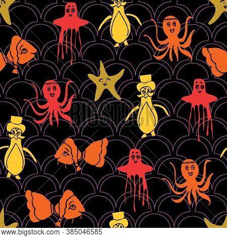 Vector Halloween Inspired Aquatic Seamless Pattern Background
