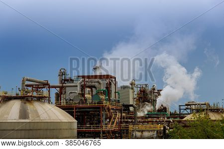 View Oil Gas Industrial Refinery Plant From Industry Zone Of Industrial Pipelines