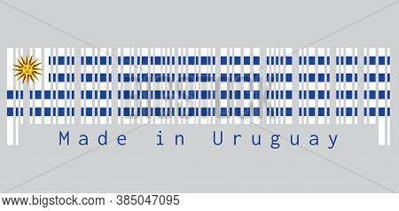 Barcode Set The Color Of Uruguay Flag, Horizontal Stripes Of White Alternate With Light Blue And The