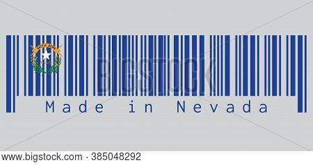 Barcode Set The Color Of Nevada Flag, Solid Cobalt Blue Field. The Canton Contains Two Sagebrush Bra