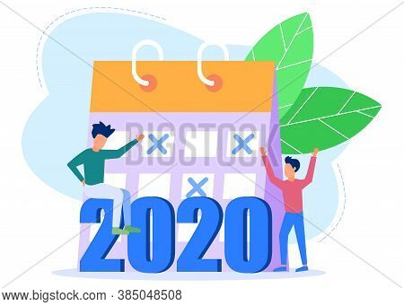 Vector Illustration Of People Welcoming New Year, Involved In Decoration, New Year 2020 Writing.