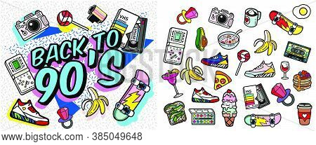 With Old-fashioned Retro Stuff With A Game, Vhs Cassette, Skate, Stick Candy, Sneakers And An Old Au