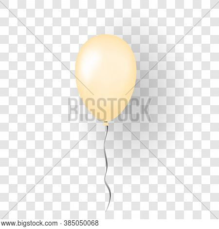 Orange Balloon 3d, Thread, Isolated White Transparent Background. Color Glossy Flying Baloon, Ribbon