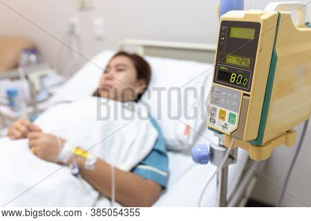 Illness Asian Patient Women On Bed Sleeping In Patient Room Alone Of Hospital