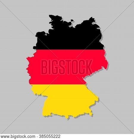 German Flag On The Map. High Detailed Germany Map With Flag Inside. European Country Borders Vector