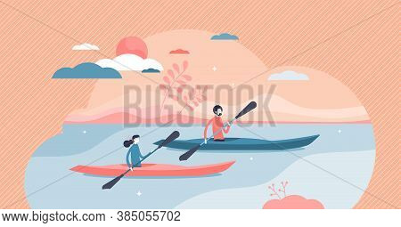 Kayaking Water Sport Outdoor Adventure With Canoe Boat Tiny Persons Concept. Rowing Activity In Summ