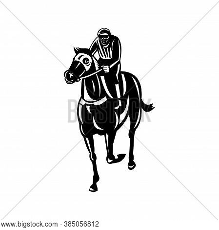 Retro Style Illustration Of A Jockey Racing Thoroughbred Horse Or Galloper, A Popular Gaming And Spe