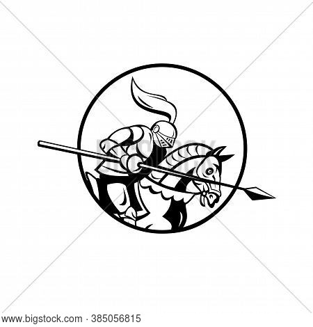 Retro Style Illustration Of A Medieval Knight With Lance Riding Steed Set Inside Circle Viewed From