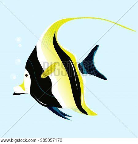 Moorish Idol, Tropical Fish. Vector Illustration. Moorish Idol
