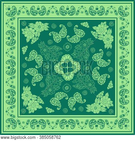 Beautiful Bandana Print With Floral And Paisley Ornament In Green Colors. Print For Scarf, Shawl, Ke