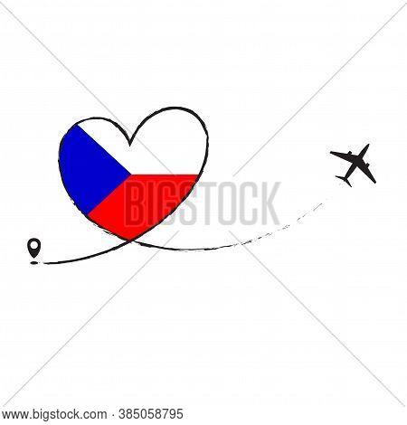 Czech Flag Love Romantic Travel Plane Airplane Airplane Airplane Flight Fly Jet Airline Line Vector