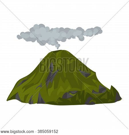 Smoking Volcano Icon. Cartoon Of Smoking Volcano Vector Icon For Web Design Isolated On White Backgr