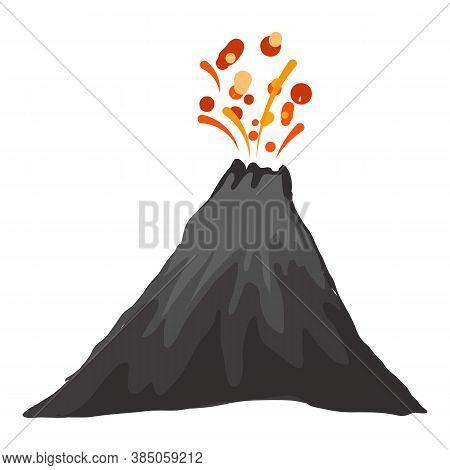 Landscape Eruption Volcano Icon. Cartoon Of Landscape Eruption Volcano Vector Icon For Web Design Is
