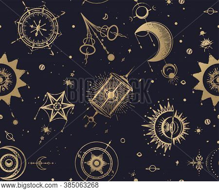 Mystic, Magic, Background. Religion And The Occultism With Esoteric And Masonic Symbols. Medieval Ma