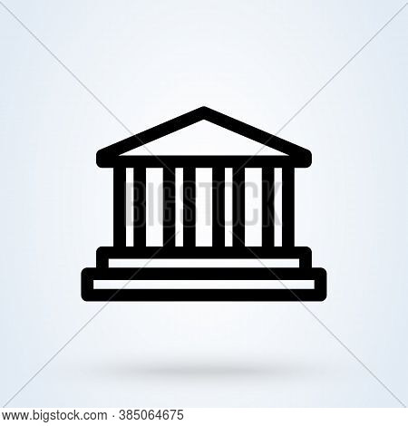 E-banking Or Bank Building Sign Line Icon Or Logo. Internet Banking Concept. Online Financial Busine