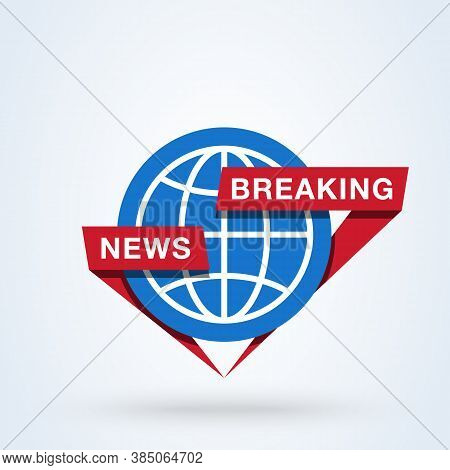 Main News Or Breaking News Sign Icon Or Logo. Global News, Newscast Concept. Breaking News Around Th