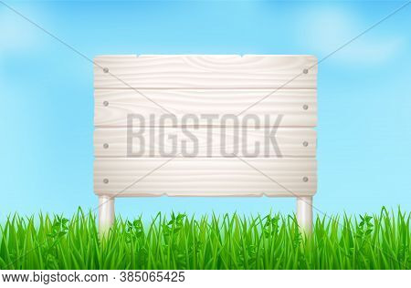 Wooden Board On Green Field Or Lawn. Vector Landscape With Grass And Signboard From Light Wood Plank