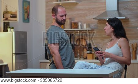 Man Taking Womans Phone Jealousy Desperate Husband Cheated, Angry, Frustrated And Irritated, Finds M
