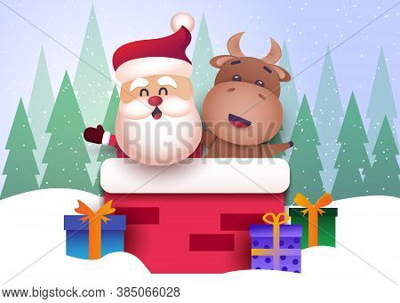 Merry christmas and happy new year 2021 greeting card with bull. Christmas background. Merry Christmas card vector Illustration.Christmas. Christmas Vector. Christmas Background. Merry Christmas Vector. Merry Christmas banner. Christmas illustrations. Mer