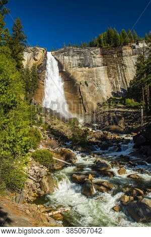 Beautiful Nevada Falls is located on Merced river. Yosemite National Park, California, USA