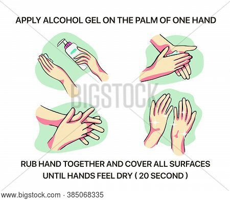 How To Use Hand Sanitizer Properly To Clean And Disinfect Hands, Medical Infographic