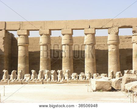 Thebes Karnak Pillars and Statues