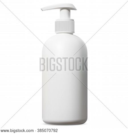 White Dispenser Bottle. Cosmetic Packaging With Pump For Shampoo, Shave Foam Or Body Shower Gel. Iso