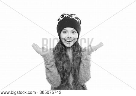 Girl Long Hair Wear Fur Hat White Background. Winter Shampoo And Conditioner Prevent Hair Damage. St