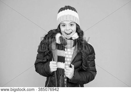Layered Up For Wintry Weather. Happy Child With Winter Look. Little Girl Smile In Casual Winter Styl
