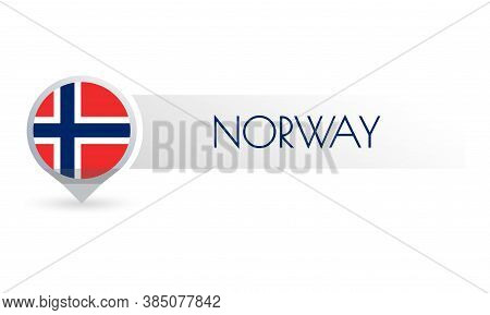 Norway Flag. Circle Flag Button In The Map Marker Shape. Norwegian Country Icon, Badge Or Banner. Ve
