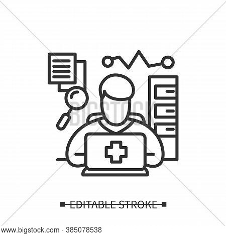 Health Information Manager Icon. Clinical Documentation Specialist. Health Data Analyst. Medical Per