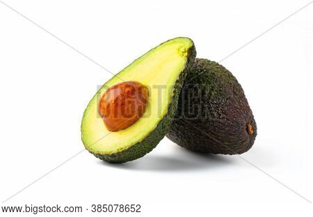 Avocado Half Isolated On White Background. Ripe Fresh Green Avocado