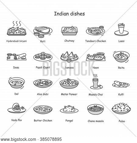 Indian Dishes Line Icons Set. Indian Cuisine. Traditional Indian Meals And Drinks. Roti, Tandoori, L