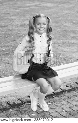 Foundation For Future. Happy Child Back To School. Small Kid Sit On Bench. Childhood Development. Ch
