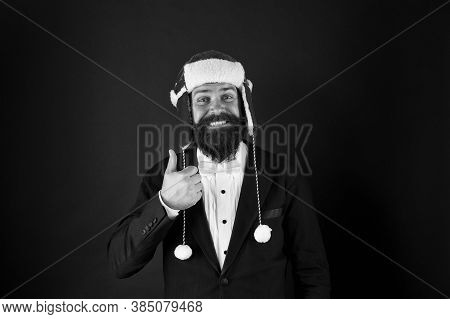Business Santa Wish You Financial Growth. Business Corporate. Man With Beard In Smart Suit And Santa