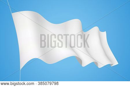 White Flag. Wavy 3d Banner Fluttering In The Wind. Isolation On Blue. 3d Graphic Vector Realistic De
