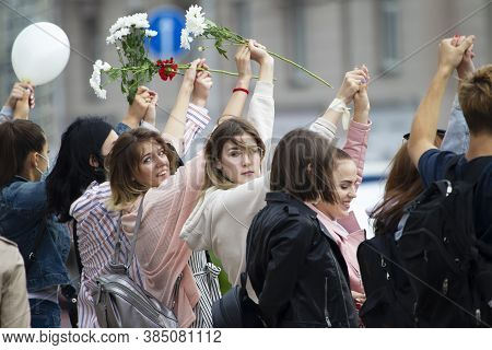 Belarus, Gomel, August 12, 2020. The Streets Of The City. Peoples Protest Against Lukashenka. Peacef