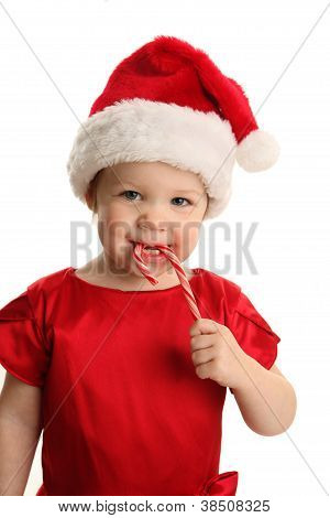 Baby In Santa Hat With Candy Cane