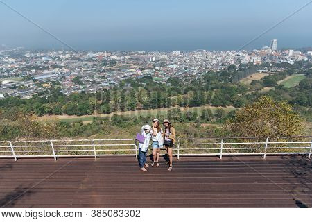 Women Relax At Landscape Viewpoint On Mountain