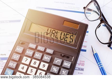 Values Word On Calculator Display. Value Concept Of Product