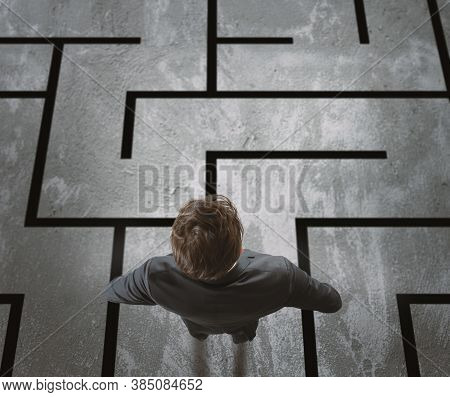 Businessman Has To Exit From A Difficult Maze.