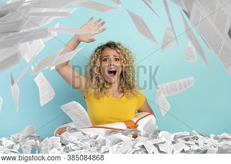 Blonde Girl Is Surrounded By A Lot Of Paper Sheet And Asks For Help . Concept Of Bureaucracy And Ove