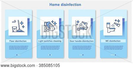 Home Disinfection Onboarding Mobile App Page Screens.floor, Light Switches, Handles, Wc Cleaning.pre
