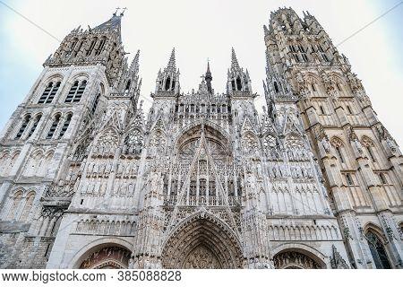 The Facade Of The Gothic Church Notre Dame De Rouen Cathedral, Rouen, Normandy, France, September 25