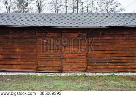 Wooden Hangar Facade, Barn In Village, Country Stock With Big Gate. Hangar Front View.