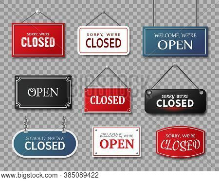 Realistic Signs Sorry We Are Closed And Welcome We Are Open. Vector Set