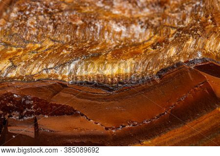 Macro Mineral Stone Tiger's Eye In The Breed On A White Background