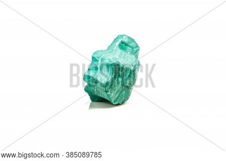 Macro Mineral Stone Malachite In The Rock On A White Background