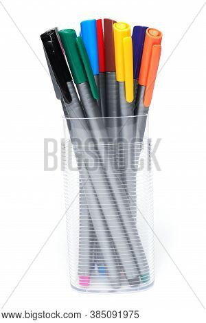 Art And Craft Equipment Drawing Pen, Multicoloured Colored Marker On White Background. School Craft